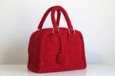 Red crochet purse - handmade bag