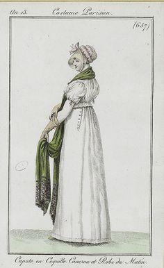 1804-1805 Capote en Coquille, Canezou et Robe du Matin. An 13, Costume Parisien (657)