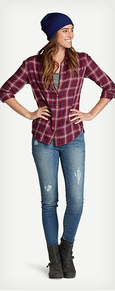 Women's casual Fall outfit featuring Tranquil Boyfriend Shirt - Plaid, Gypsum Embroidered Tank Top, Elysian Destroyed Skinny Jeans - Slightly Curvy, Shasta Beanie and Eddie Bauer Covey Boot.