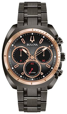 Men's Wrist Watches - Bulova CURV Chronograph Gunmetal Stainless Steel Watch 98A158 >>> Want to know more, click on the image.