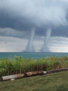 Twin waterspouts over Lake Michigan! (9/12/13)