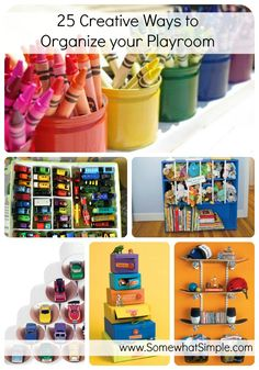 For play rooms and kid spaces- 25 ways to organize the clutter