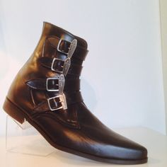 4 Strap Coffin buckle Boots in Black Leather