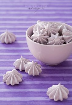 "Blueberry Almond Meringues. ""With blueberries and a bit of almond extract, the flavor is light and subtly fruity with fragrant almond undertones."""