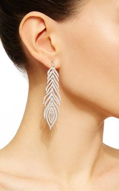 White Diamond Feather Earrings by SUTRA for Preorder on Moda Operandi