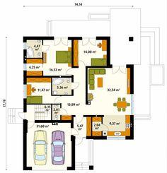 Jest to dom parterowy o powierzchni prawie 130 metrów kw., podpiwniczony. W piwnicy wygospodarowano kilka pomieszczeń gospodarczych na dowolny cel (np. pralnia, warsztat) oraz kotłownię na każdy rodzaj paliwa. Pomieszczenia mieszkalne zajmują cały parter. Jest tam przestronny salon łączony z jadalnią i otwarta kuchnia oraz trzy spore sypialnie, z czego jedna jest łączona z garderobą i łazienką. Z salonu prowadzi wyjście na taras. Na poziomie parteru zaplanowano dwustanowiskowy garaż, wjazd…