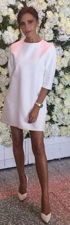 Victoria Beckham: Dress – Victoria Beckham Collection  Shoes – Casadei