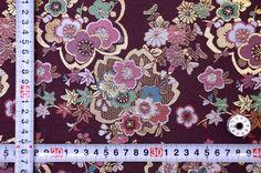 金襴 蜀甲地に桜 古代紫