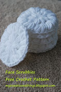 Reusable crochet cotton facial scrubbies! A friend of a friends mom made these for us! She made them to be used as makeshift sponges for dishes but facial cleansers? Yes!