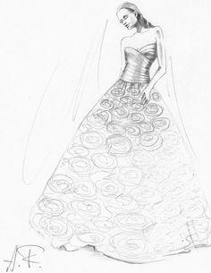 Wedding dress custom drawings sketches by alenafede on Etsy, $50.00