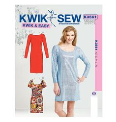 Kwik Sew K3561: Misses' close fitting dresses in 2 lengths with sleeve and neckline options.