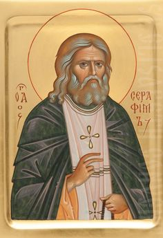 This painted icon of St Seraphim of Sarov comes in several sizes starting from cm. We will make a hand-carved kiot for the painted icon of St Seraphim and adorn it with a precious oklad Byzantine Icons, Byzantine Art, Religious Icons, Religious Art, Fortune Cards, Paint Icon, Russian Icons, Madonna And Child, Orthodox Icons