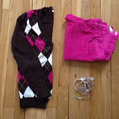J. Crew Factory Argyle Sweater Brown, pink, and white with yellow detail. Size xs but could fit a small. Pants are also listed. J.Crew Factory Sweaters