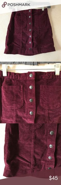 brandy melville maroon corduroy skirt brandy melville maroon corduroy skirt, only worn once. in great condition. accepting offers no trades, only sell on posh, comes from a smoke free environment. looking for a good home :)) Brandy Melville Skirts Mini
