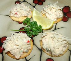 Jason's Tuna Salad served on crackers and topped with shredded Parmesan cheese.    Great party appetizer!