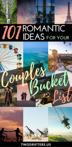 Romance, adventure, and travel. We share a list of 101 exciting bucket list ideas for couples. Gather inspiration for your romantic bucket list, travel bucket list, and more. On your way to reaching your couples goals! #relationships #relationshipgoals #bucketlist #couple #travel #travelmore