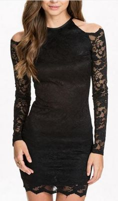Super Sexy LBD Fashion! Black Off-Shoulder Long Sleeve Lace Bodycon Dress