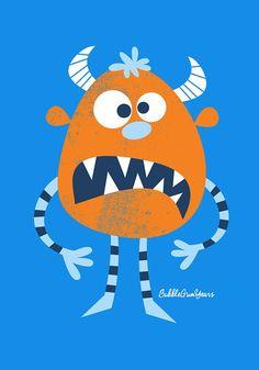Orange monster. Bubble Gum Years - ETSY