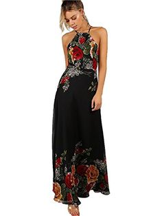 54153031361 online shopping for Floerns Women s Sleeveless Halter Neck Vintage Floral  Print Maxi Dress from top store. See new offer for Floerns Women s  Sleeveless ...
