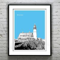 Lighthouse Portland Maine Poster Skyline Art by AnInspiredImage