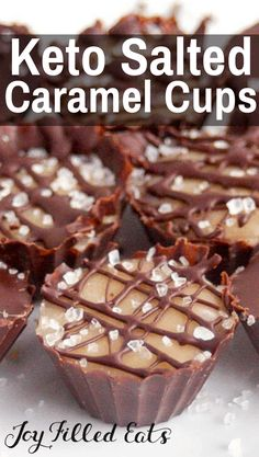 KETO Salted Caramel Cups - Low Carb, Sugar-Free, THM S Salted Caramel Cups have a soft caramel center enrobed in dark chocolate w/the ideal sweet to salt ratio. KETO Salted Caramel Cups - Low Carb, Sugar-Free, THM S Low Carb Sweets, Low Carb Desserts, Low Carb Recipes, Easy Recipes, Low Carb High Fat, Low Carb Keto, Sugar Free Desserts, Dessert Recipes, Dinner Recipes