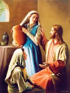 Jesus Christ, Mary and Martha Scripture Study, Bible Art, Scripture Reading, Mary And Martha, Saint Martha, Bible Love, Biblical Art, Jesus Pictures, Lds Pictures