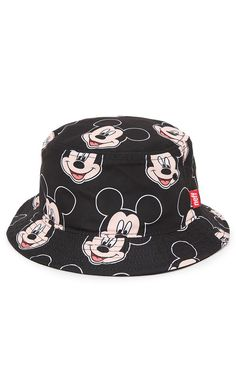 Neff teams up with Disney for this men's bucket hat found at PacSun. The Big Mouse Bucket Hat has a black base and a multi color Mickey print throughout with a Neff logo loop on the brim.%09Allover multi color print bucket hat%09Neff logo loop on brim%09One size fits most%09Dry clean only%09100% polyester%09Imported