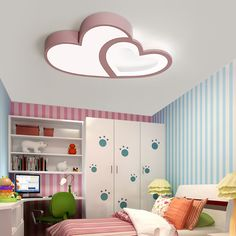 Decor Creative Warm Heart-Shaped Children'S Room LED Ceiling Lamp Simple Eye Protection Kids Light Y House Ceiling Design, Ceiling Design Living Room, Bedroom False Ceiling Design, Home Ceiling, Ceiling Decor, Living Room Designs, House Design, Ceiling Lamps, False Ceiling Ideas