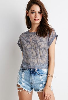 Sheer Rose Lace Top | Forever 21 - 2000131464