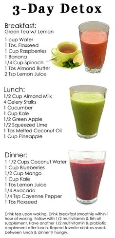 "Dr. Oz's 3-Day Detox Cleanse. Previous pinner said ""Just did this and feel sooo much better.  And 6 pounds lighter :)   I do this 2x per month, along with healthy weight loss eating and have lost 32lbs in 2 months"""