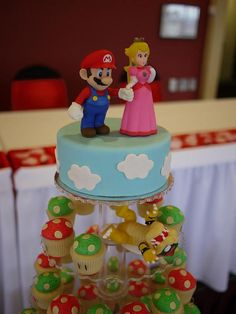 Super Mario Bros & 1UP Mushrrom Wedding Cupcake Tower by Cupcake Central (Sheryl), via Flickr | Nintendo NES Video Game Groom Bowser Princess