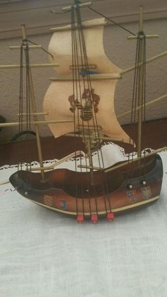 Vintage Antique Nautical Coat of Arms Wooden Boat Ship Sailboat Lamp nightlight