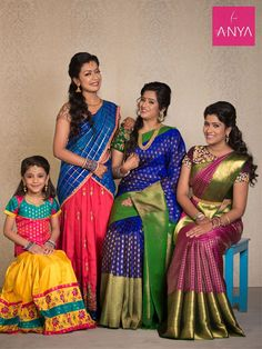 Anya Boutique provides latest diwali collection in Coimbatore.We offers best collection of Kids pattu pavadai, bridal sarees, wedding sarees, designer sarees, lehenga sarees in Coimbatore. Pattu Sarees Wedding, Latest Pattu Sarees, Party Sarees, Bridal Sarees, Indian Attire, Indian Outfits, Kids Lehenga Choli, Indian Bridal Photos, Indian Beauty Saree