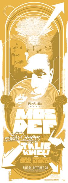 Mos Def Concert poster, with single colour, but working with different tonal uses. Images have been illustrated and overlayed with other pictures too.