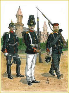 Prussia; Grenadier-Regiment Konig Wilhelm(2nd Westprussian) Nr. 7. L to R Officer, Grenadier & Sergeant 1867-71