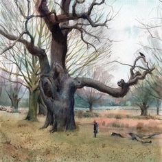 """Cold Day In Richmond Park"" - Original Fine Art for Sale - © Anna Tikhomirova"