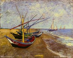 Van Gogh Fishing Boats on the Beach at Saintes-Maries de la mer