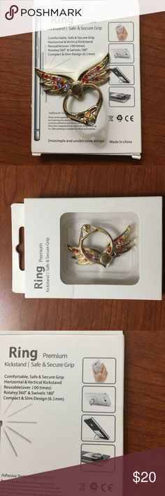 Amazing  Phonekick stand secure hold grip New in box jeweled butterfly