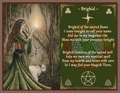 Brighid Poem by Wicca Yvonne, Magickal Moonie's Sanctuary Brighid Goddess, Celtic Goddess, Goddess Symbols, Witch Symbols, Celtic Paganism, Celtic Mythology, Wiccan Sabbats, Yule, Gypsy Moon