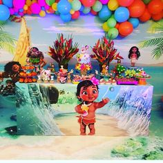 New Disney Moana Birthday Party Ideas Ideas Moana Birthday Decorations, Moana Theme Birthday, Moana Themed Party, 2nd Birthday Party Themes, Trolls Birthday Party, Moana Party, Birthday Backdrop, Birthday Bash, 2 Year Old Birthday Party Girl