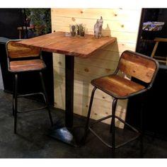 Table de bar 70x70x110(h)cm. Plateau en bois massif d'acacia.