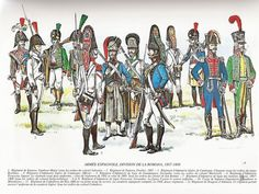 Uniformes de la División de La Romana. Dibujos de Mr. Louis de Beaufort