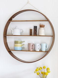 A circle shelf by Bride & Wolfe - hand-made from Australian timber and steam bent using traditional methods. Part of the Made by Hand series by @Jacqueline Fink of Little Dandelion on the Temple & Webster blog.