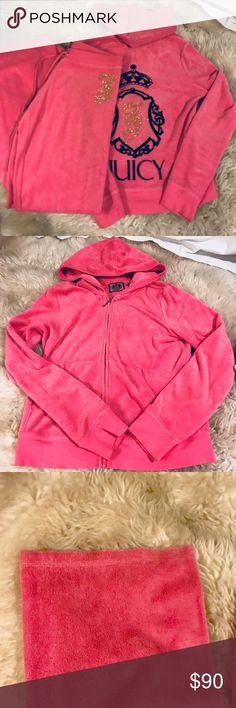 Juicy Couture Sweat Suit Vibrant pink Juicy Couture sweat suit with gold glitter logo. The pants are the original style wide leg and the jacket is a zip up with a good. Juicy Couture Other