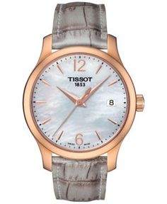Tissot Women's Swiss Tradition Gray Leather Strap Watch 33mm T0632103711700