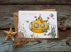 We all live in a yellow submarine Watercolor Pictures, Watercolor Drawing, Watercolor Illustration, Painting & Drawing, Watercolor Paintings, Watercolor Postcard, Watercolor Cards, Buch Design, Envelope Art