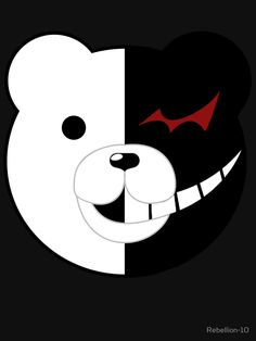 the head of monokuma of the danganronpa series. monokuma is a weird teddy bear introduced as the main antagonist of the danganronpa series, who proclaims himself as the principal of hope's peak academy. Danganronpa Monokuma, Teddy Bear Drawing, Trigger Happy Havoc, Bear Art, Attack On Titan Anime, Retro, Cute Wallpapers, Tshirt Colors, Pop Art