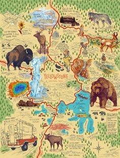 Map of Yellowstone on Behance Yellowstone Map, Yellowstone Vacation, Grand Teton National Park, Yellowstone National Park, Us National Parks Map, Wyoming Map, Road Trip Map, Family Road Trips, To Infinity And Beyond