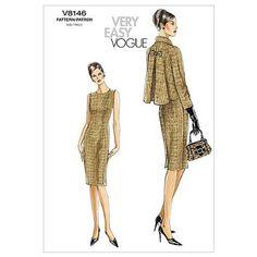 Vogue Misses'/Misses' Petite Jacket and Dress Pattern AA (Sizes Vogue Patterns, Vintage Dress Patterns, Clothing Patterns, Jacket Sewing Patterns, 1960s Fashion, Vintage Fashion, Straight Dress, Vintage Mode, Vintage Style