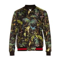 Gucci Tropical-print silk bomber jacket ($1,895) ❤ liked on Polyvore featuring men's fashion, men's clothing, men's outerwear, men's jackets, green multi, mens silk jacket, mens green jacket, mens green bomber jacket, mens silk bomber jacket and gucci mens jacket
